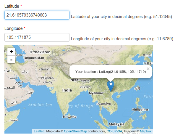 Embed Leaflet Map As Coordinates Picker - Location map generator